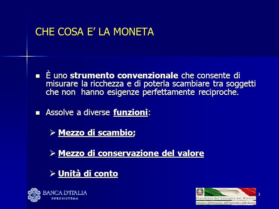 3 CHE COSA E LA MONETA È uno strumento convenzionale che consente di misurare la ricchezza e di poterla scambiare tra soggetti che non hanno esigenze perfettamente reciproche.