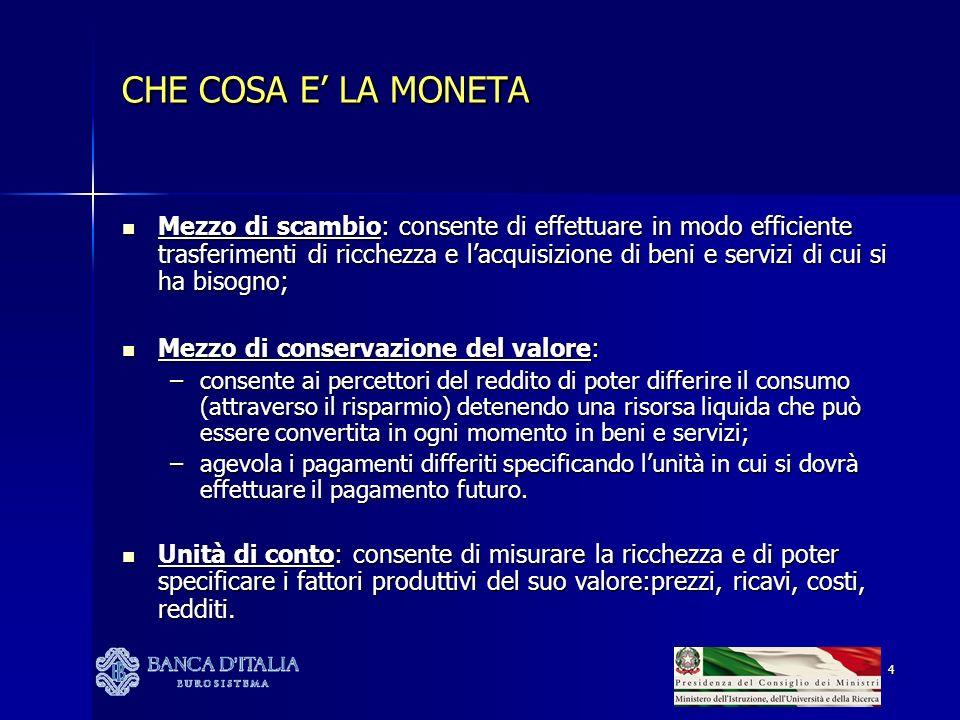 4 CHE COSA E LA MONETA Mezzo di scambio: consente di effettuare in modo efficiente trasferimenti di ricchezza e lacquisizione di beni e servizi di cui si ha bisogno; Mezzo di scambio: consente di effettuare in modo efficiente trasferimenti di ricchezza e lacquisizione di beni e servizi di cui si ha bisogno; Mezzo di conservazione del valore: Mezzo di conservazione del valore: –consente ai percettori del reddito di poter differire il consumo (attraverso il risparmio) detenendo una risorsa liquida che può essere convertita in ogni momento in beni e servizi; –agevola i pagamenti differiti specificando lunità in cui si dovrà effettuare il pagamento futuro.