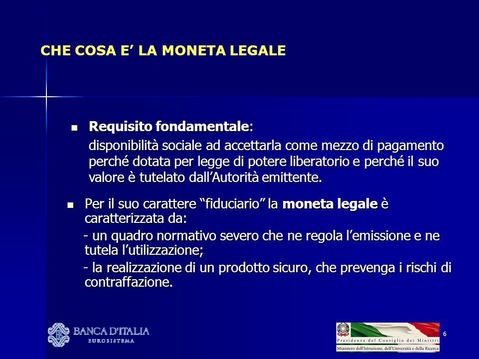 6 CHE COSA E LA MONETA LEGALE Requisito fondamentale: Requisito fondamentale: disponibilità sociale ad accettarla come mezzo di pagamento perché dotat