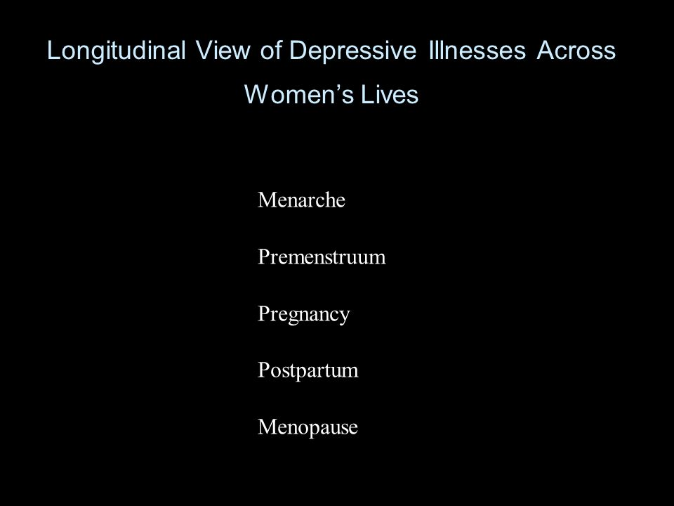 Longitudinal View of Depressive Illnesses Across Womens Lives Menarche Premenstruum Pregnancy Postpartum Menopause