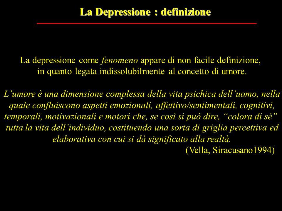 La Depressione : definizione La depressione come fenomeno appare di non facile definizione, in quanto legata indissolubilmente al concetto di umore. L