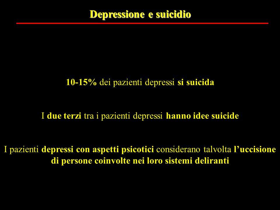 Depressione e suicidio 10-15% dei pazienti depressi si suicida I due terzi tra i pazienti depressi hanno idee suicide I pazienti depressi con aspetti