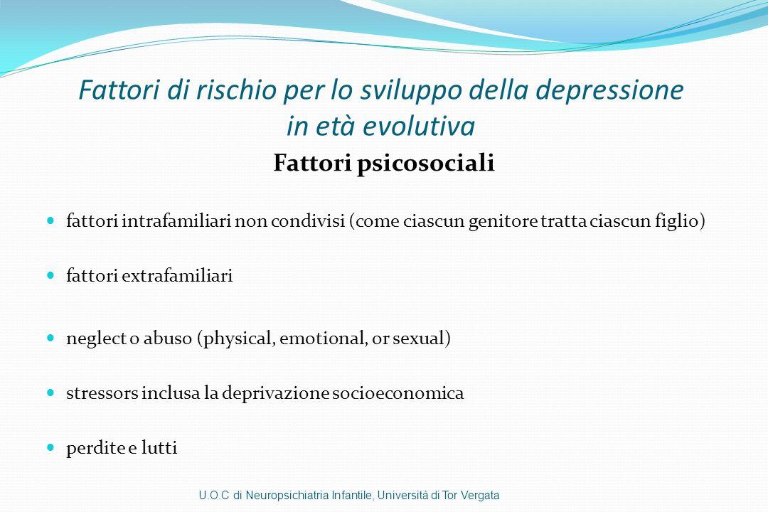 Fattori di rischio per lo sviluppo della depressione in età evolutiva Fattori psicosociali fattori intrafamiliari non condivisi (come ciascun genitore