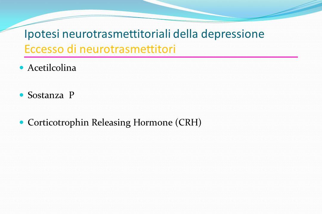 Ipotesi neurotrasmettitoriali della depressione Eccesso di neurotrasmettitori Acetilcolina Sostanza P Corticotrophin Releasing Hormone (CRH)