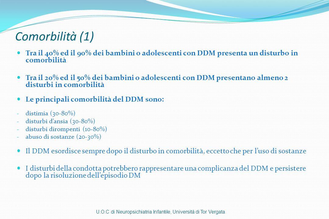 Comorbilità (1) Tra il 40% ed il 90% dei bambini o adolescenti con DDM presenta un disturbo in comorbilità Tra il 20% ed il 50% dei bambini o adolesce