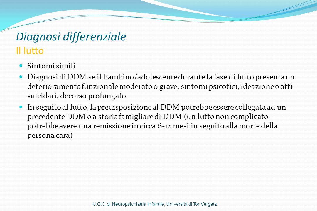 Diagnosi differenziale Il lutto Sintomi simili Diagnosi di DDM se il bambino/adolescente durante la fase di lutto presenta un deterioramento funzional