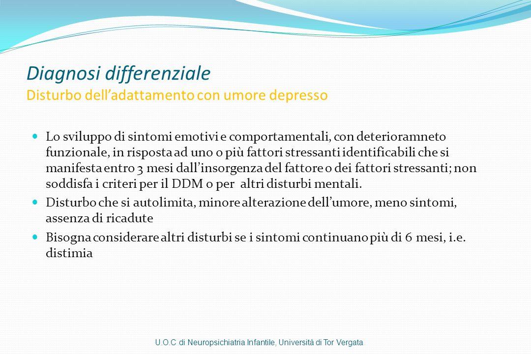 Diagnosi differenziale Disturbo delladattamento con umore depresso Lo sviluppo di sintomi emotivi e comportamentali, con deterioramneto funzionale, in