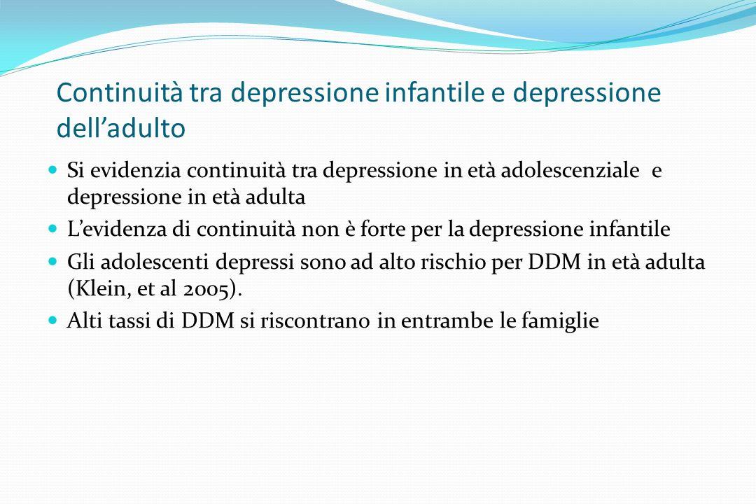 Continuità tra depressione infantile e depressione delladulto Si evidenzia continuità tra depressione in età adolescenziale e depressione in età adult