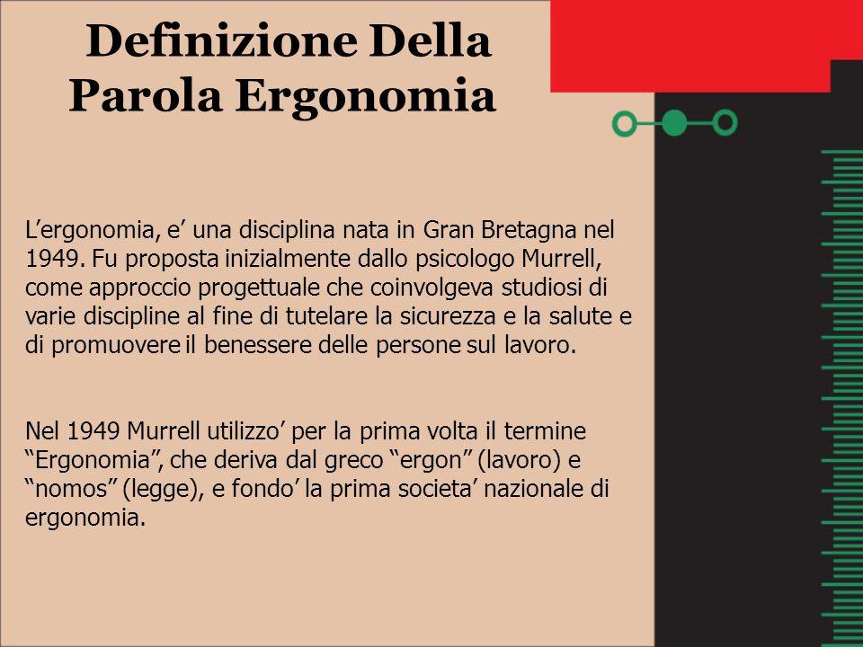 Definizione Della Parola Ergonomia Lergonomia, e una disciplina nata in Gran Bretagna nel 1949. Fu proposta inizialmente dallo psicologo Murrell, come