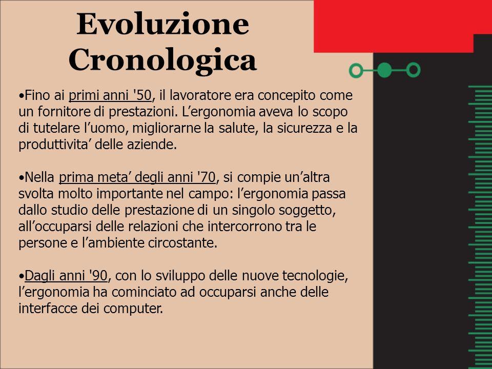 Evoluzione Cronologica Fino ai primi anni '50, il lavoratore era concepito come un fornitore di prestazioni. Lergonomia aveva lo scopo di tutelare luo