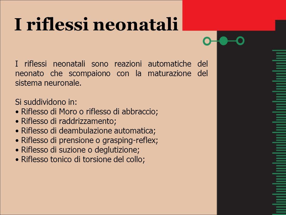 I riflessi neonatali I riflessi neonatali sono reazioni automatiche del neonato che scompaiono con la maturazione del sistema neuronale. Si suddividon