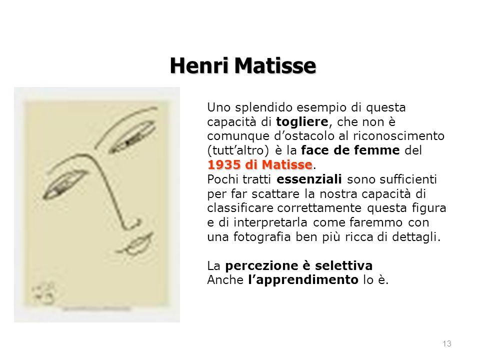 13 1935 di Matisse Uno splendido esempio di questa capacità di togliere, che non è comunque dostacolo al riconoscimento (tuttaltro) è la face de femme del 1935 di Matisse.