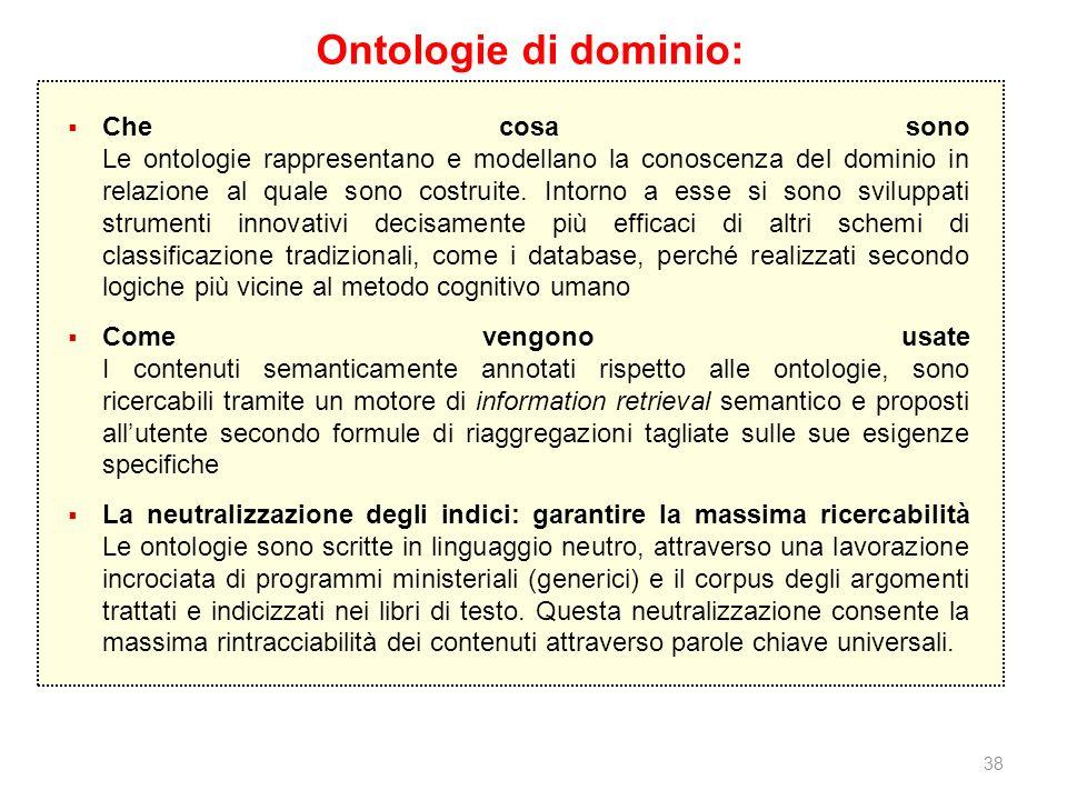 38 Ontologie di dominio: Che cosa sono Le ontologie rappresentano e modellano la conoscenza del dominio in relazione al quale sono costruite. Intorno