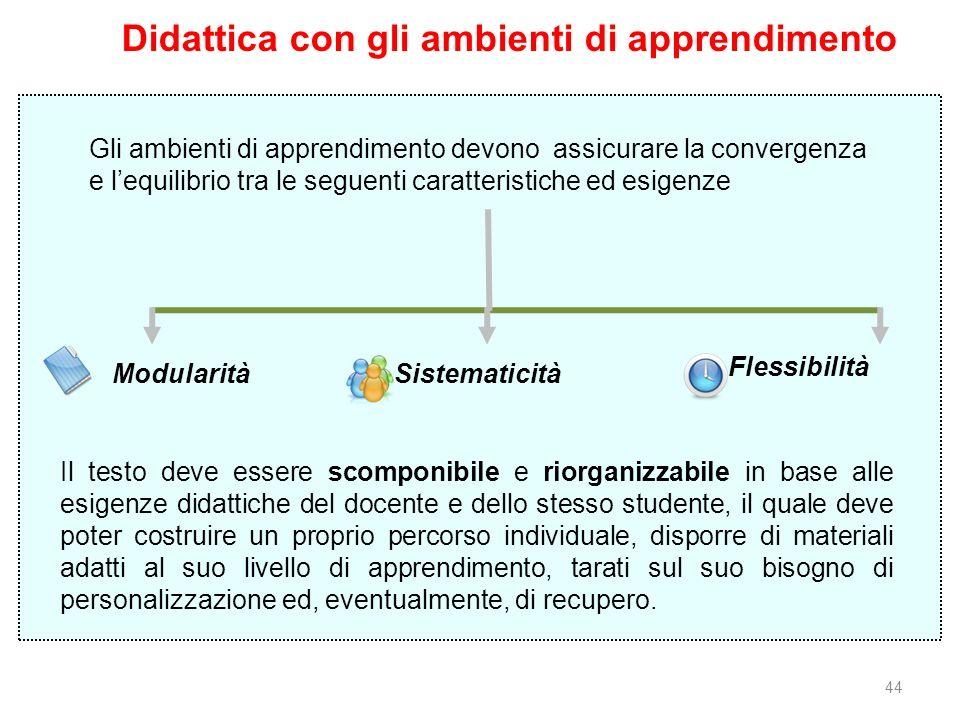 44 Modularità Sistematicità Flessibilità Didattica con gli ambienti di apprendimento Gli ambienti di apprendimento devono assicurare la convergenza e