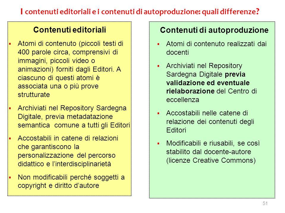 51 I contenuti editoriali e i contenuti di autoproduzione: quali differenze ? Contenuti editoriali Atomi di contenuto (piccoli testi di 400 parole cir