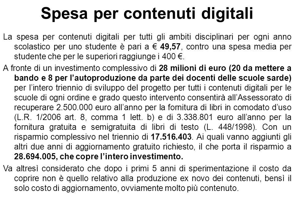 Spesa per contenuti digitali La spesa per contenuti digitali per tutti gli ambiti disciplinari per ogni anno scolastico per uno studente è pari a 49,57, contro una spesa media per studente che per le superiori raggiunge i 400.