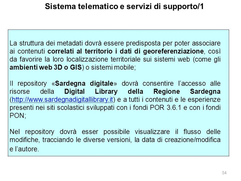 54 Sistema telematico e servizi di supporto/1 La struttura dei metadati dovrà essere predisposta per poter associare ai contenuti correlati al territo