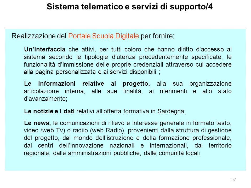 57 Sistema telematico e servizi di supporto/4 Realizzazione del Portale Scuola Digitale per fornire : Uninterfaccia che attivi, per tutti coloro che h