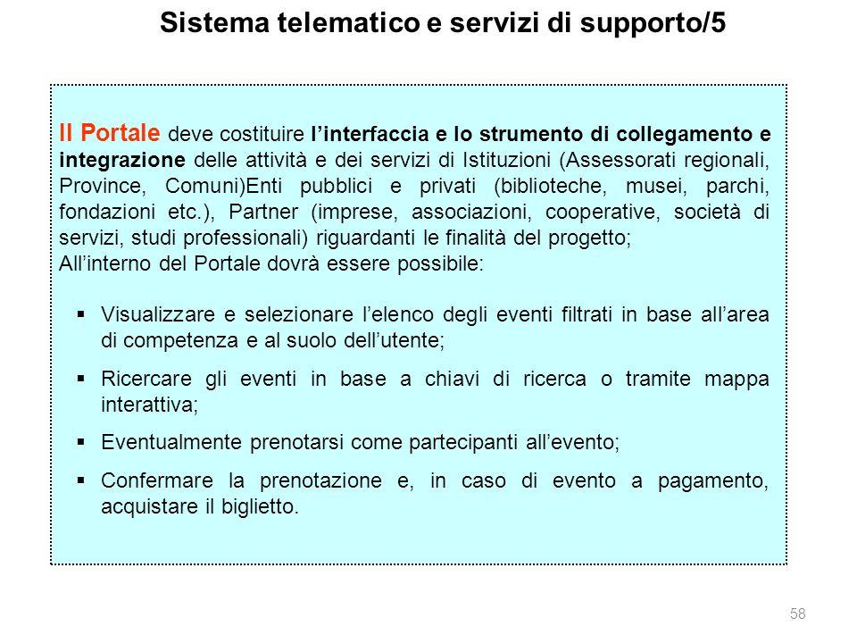 58 Sistema telematico e servizi di supporto/5 Il Portale deve costituire linterfaccia e lo strumento di collegamento e integrazione delle attività e d
