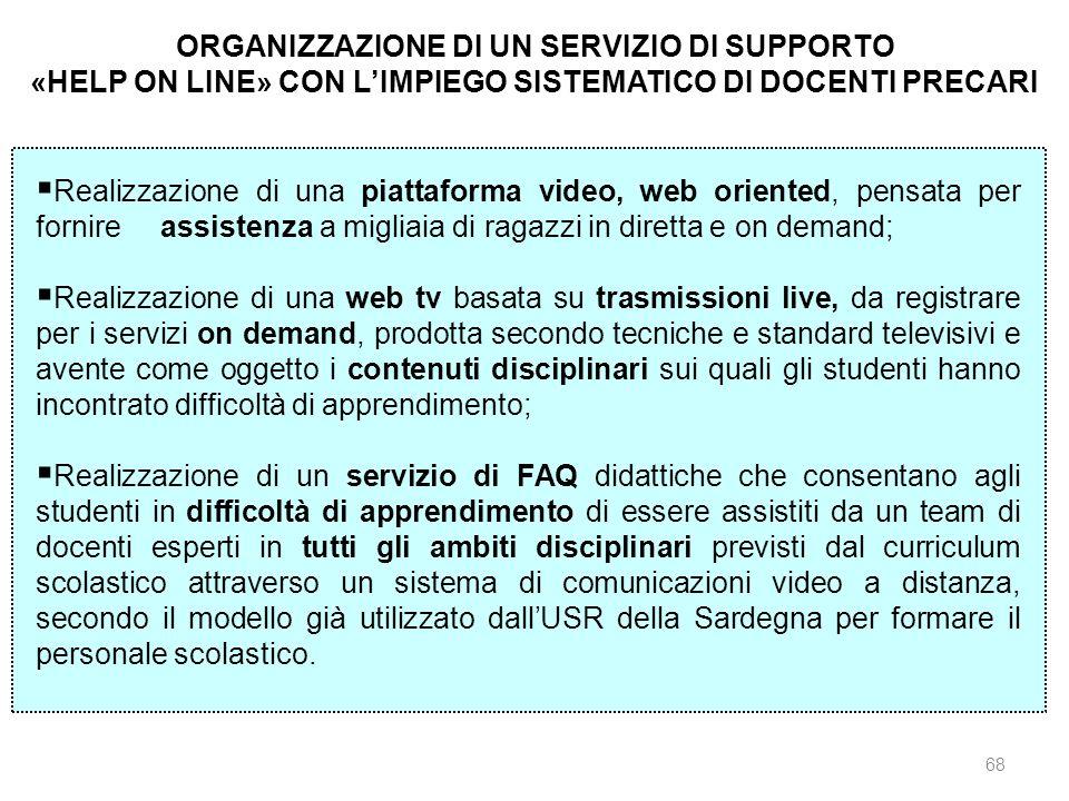 68 ORGANIZZAZIONE DI UN SERVIZIO DI SUPPORTO «HELP ON LINE» CON LIMPIEGO SISTEMATICO DI DOCENTI PRECARI Realizzazione di una piattaforma video, web or