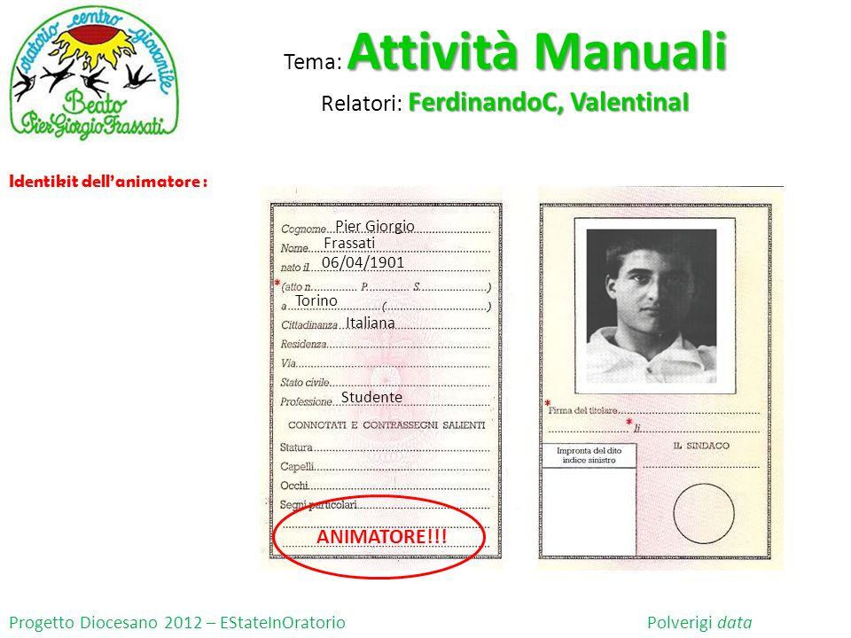 Progetto Diocesano 2012 – EStateInOratorio Polverigi data Identikit dellanimatore : Pier Giorgio Frassati 06/04/1901 Torino Studente Italiana ANIMATORE!!.