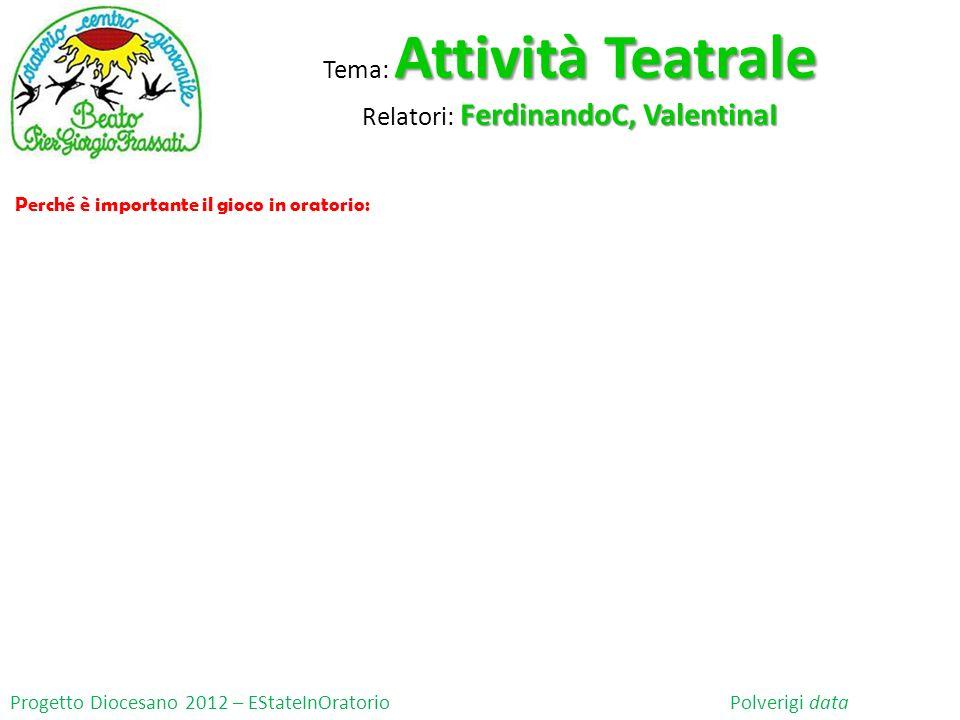 Progetto Diocesano 2012 – EStateInOratorio Polverigi data Attività Teatrale Tema: Attività Teatrale FerdinandoC, ValentinaI Relatori: FerdinandoC, Val