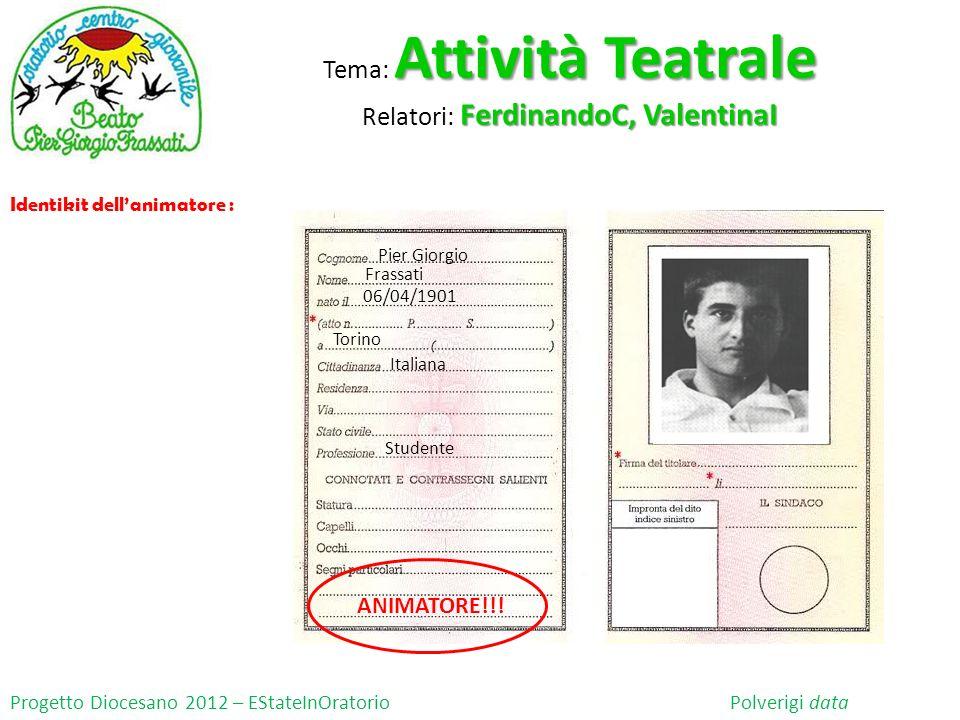 Progetto Diocesano 2012 – EStateInOratorio Polverigi data Identikit dellanimatore : Pier Giorgio Frassati 06/04/1901 Torino Studente Italiana ANIMATOR