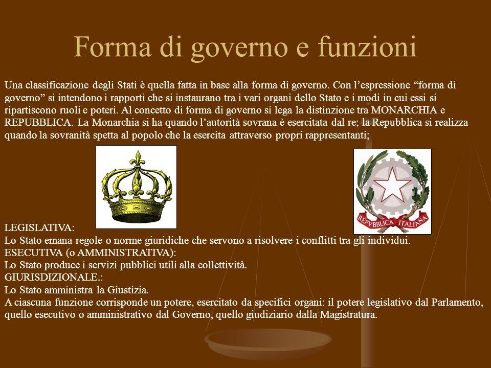 Forma di governo e funzioni Una classificazione degli Stati è quella fatta in base alla forma di governo.