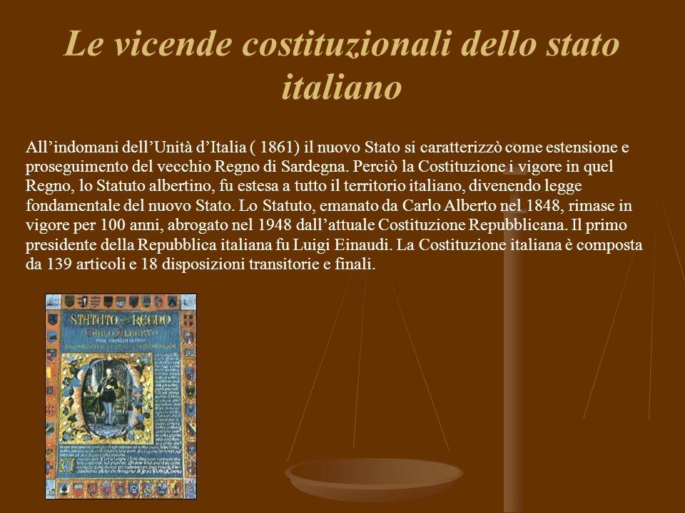 Le vicende costituzionali dello stato italiano Allindomani dellUnità dItalia ( 1861) il nuovo Stato si caratterizzò come estensione e proseguimento del vecchio Regno di Sardegna.