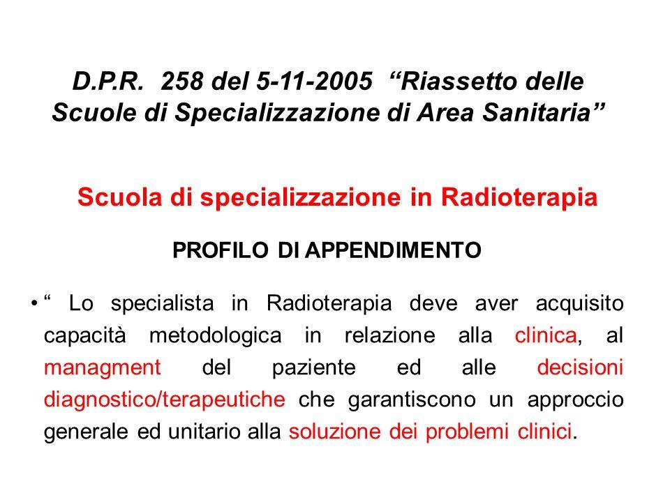 PROFILO DI APPENDIMENTO Lo specialista in Radioterapia deve aver acquisito capacità metodologica in relazione alla clinica, al managment del paziente