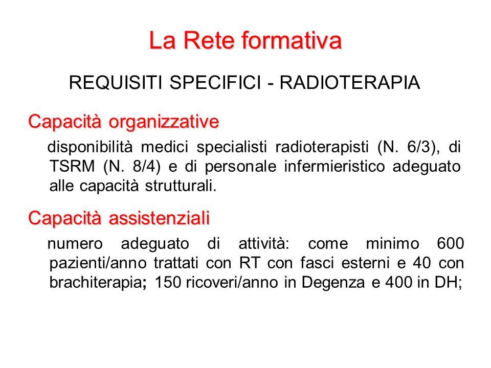 La Rete formativa REQUISITI SPECIFICI - RADIOTERAPIA Capacità organizzative disponibilità medici specialisti radioterapisti (N. 6/3), di TSRM (N. 8/4)