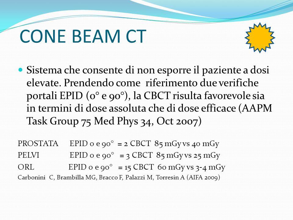 CONE BEAM CT Sistema che consente di non esporre il paziente a dosi elevate. Prendendo come riferimento due verifiche portali EPID (0° e 90°), la CBCT