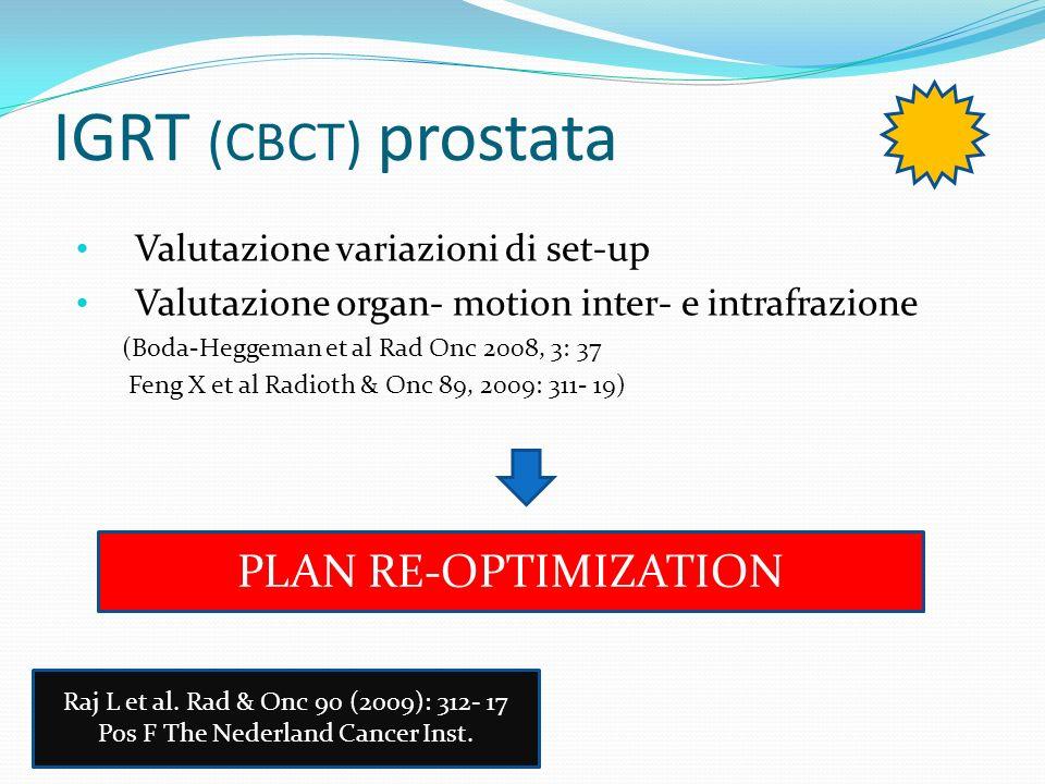 IGRT (CBCT) prostata Valutazione variazioni di set-up Valutazione organ- motion inter- e intrafrazione (Boda-Heggeman et al Rad Onc 2008, 3: 37 Feng X