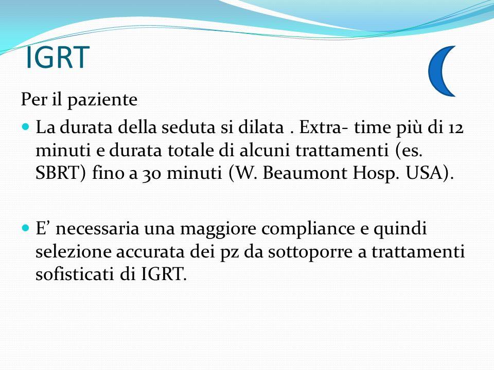 IGRT Per il paziente La durata della seduta si dilata. Extra- time più di 12 minuti e durata totale di alcuni trattamenti (es. SBRT) fino a 30 minuti