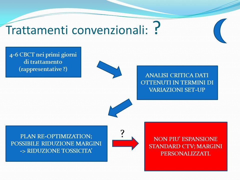 Trattamenti convenzionali: ? FF ? 4-6 CBCT nei primi giorni di trattamento (rappresentative ?) ANALISI CRITICA DATI OTTENUTI IN TERMINI DI VARIAZIONI