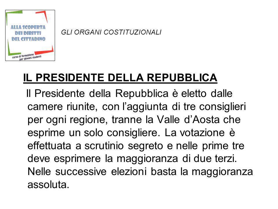GLI ORGANI COSTITUZIONALI IL PRESIDENTE DELLA REPUBBLICA Il Presidente della Repubblica è eletto dalle camere riunite, con laggiunta di tre consiglier