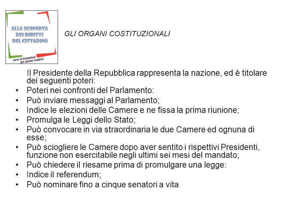 GLI ORGANI COSTITUZIONALI Il Presidente della Repubblica rappresenta la nazione, ed è titolare dei seguenti poteri: Poteri nei confronti del Parlament