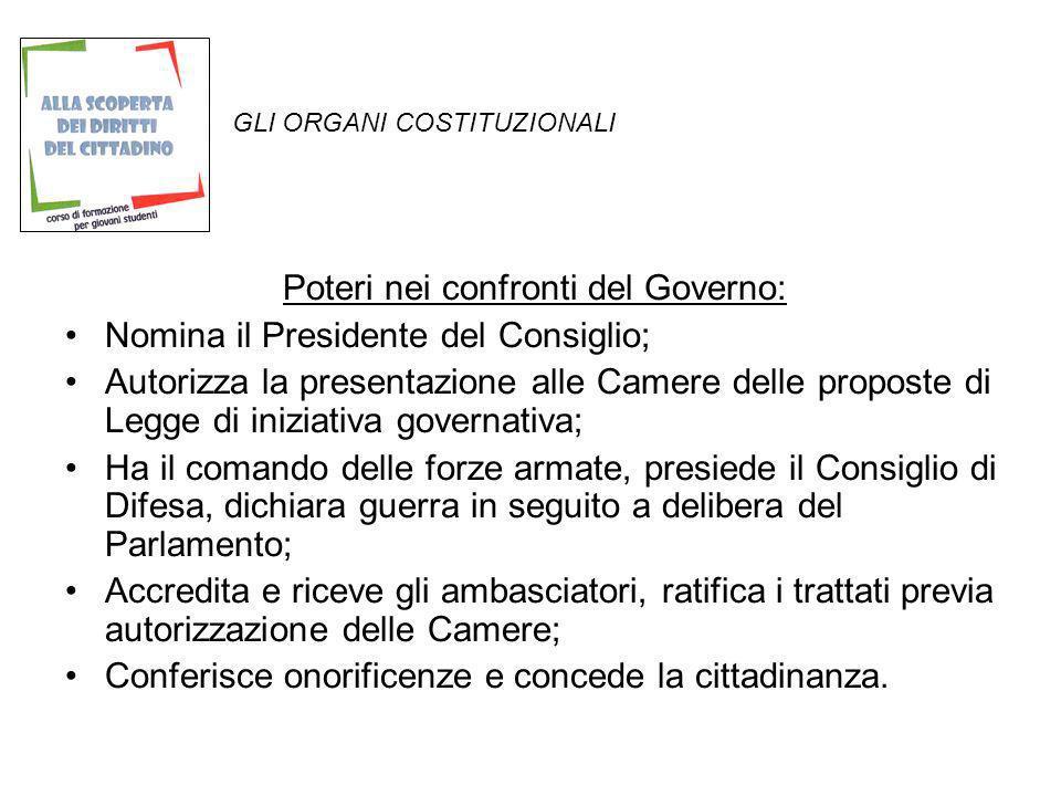GLI ORGANI COSTITUZIONALI Poteri nei confronti del Governo: Nomina il Presidente del Consiglio; Autorizza la presentazione alle Camere delle proposte