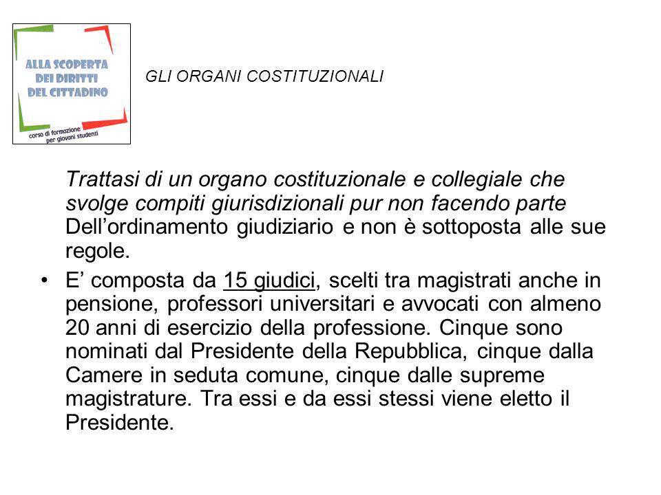 GLI ORGANI COSTITUZIONALI Trattasi di un organo costituzionale e collegiale che svolge compiti giurisdizionali pur non facendo parte Dellordinamento g