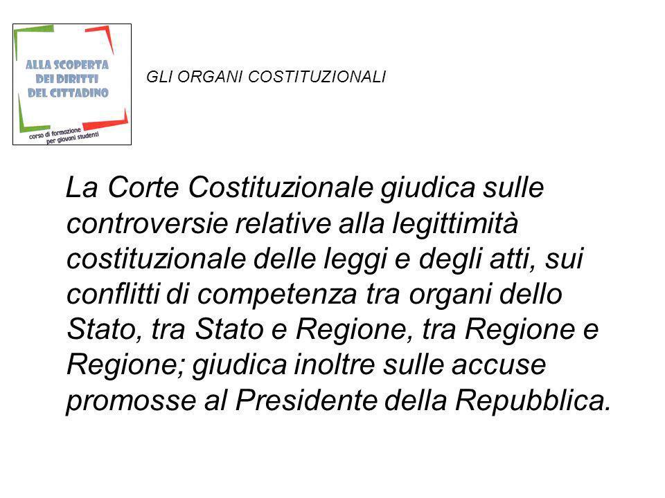 GLI ORGANI COSTITUZIONALI La Corte Costituzionale giudica sulle controversie relative alla legittimità costituzionale delle leggi e degli atti, sui co