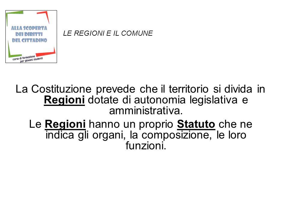 LE REGIONI E IL COMUNE La Costituzione prevede che il territorio si divida in Regioni dotate di autonomia legislativa e amministrativa.