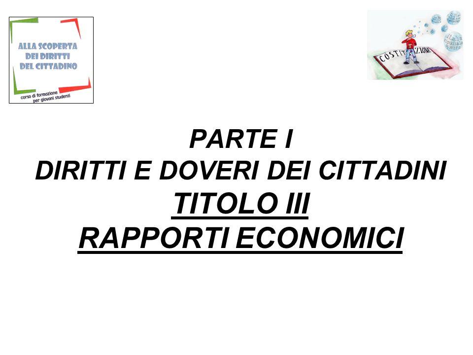 PARTE I DIRITTI E DOVERI DEI CITTADINI TITOLO III RAPPORTI ECONOMICI