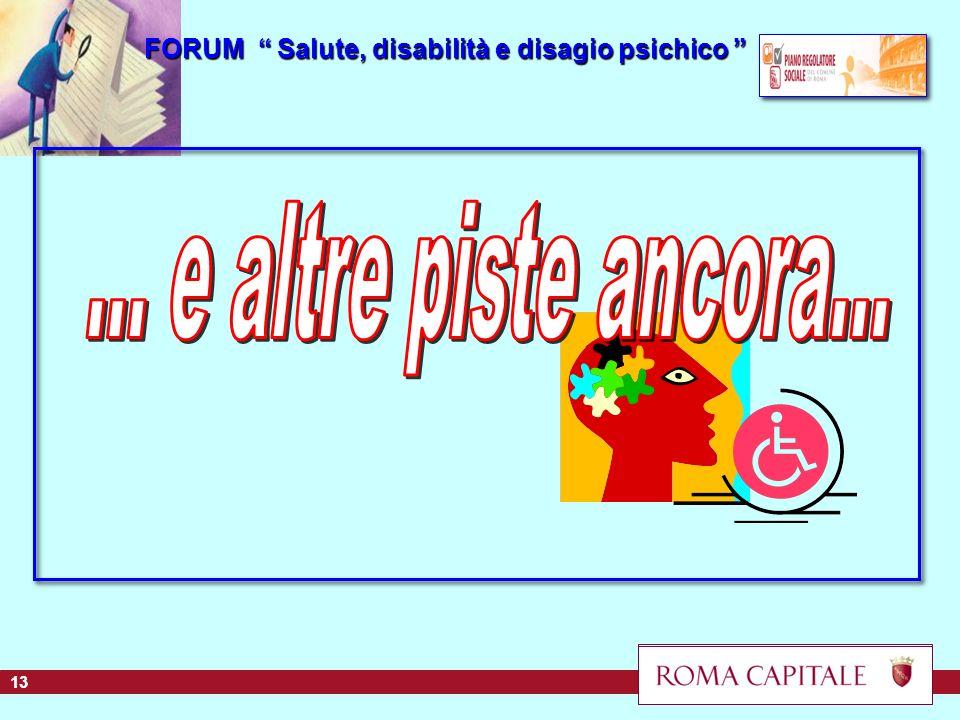 FORUM Salute, disabilità e disagio psichico FORUM Salute, disabilità e disagio psichico 13