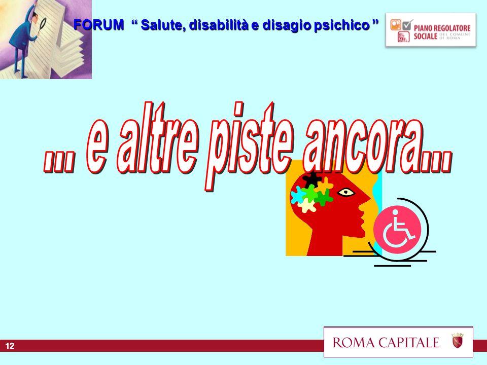 FORUM Salute, disabilità e disagio psichico FORUM Salute, disabilità e disagio psichico 12