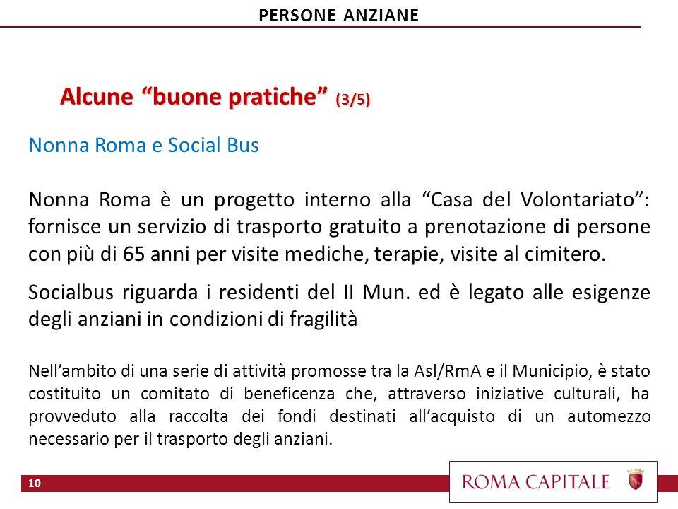 Alcune buone pratiche (3/5) Nonna Roma e Social Bus Nonna Roma è un progetto interno alla Casa del Volontariato: fornisce un servizio di trasporto gra