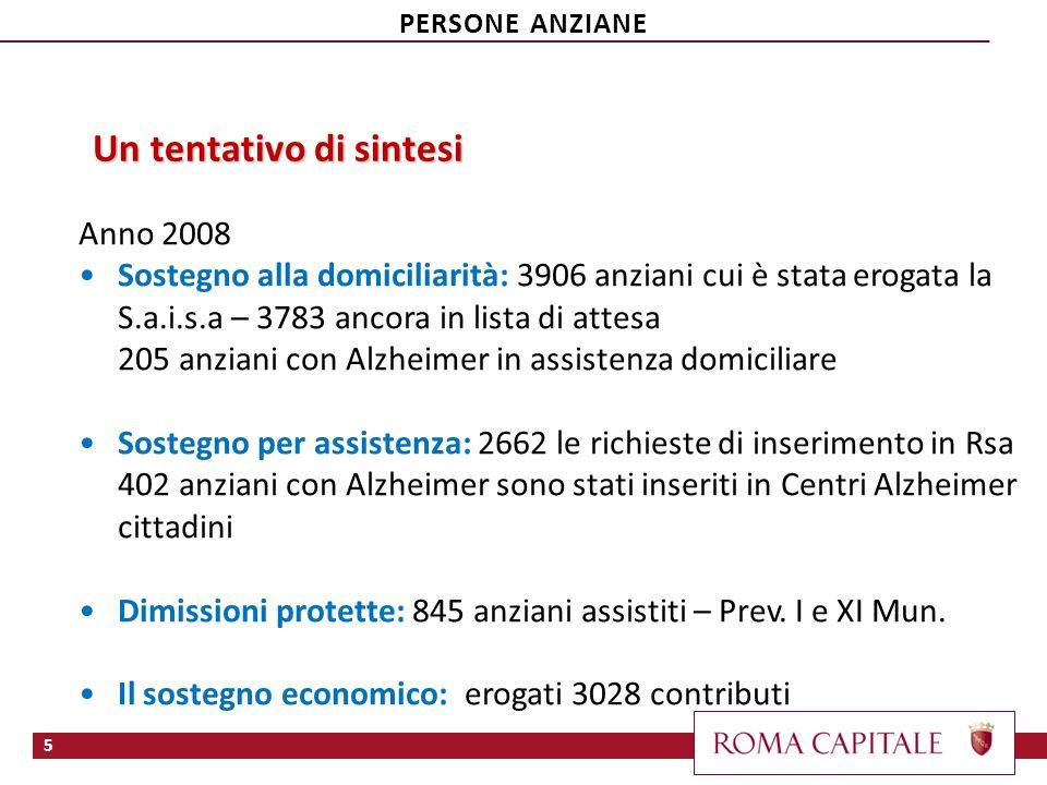 …segue Fonte: Relazione al rendiconto economico del Comune di Roma. Anno 2008 6 PERSONE ANZIANE
