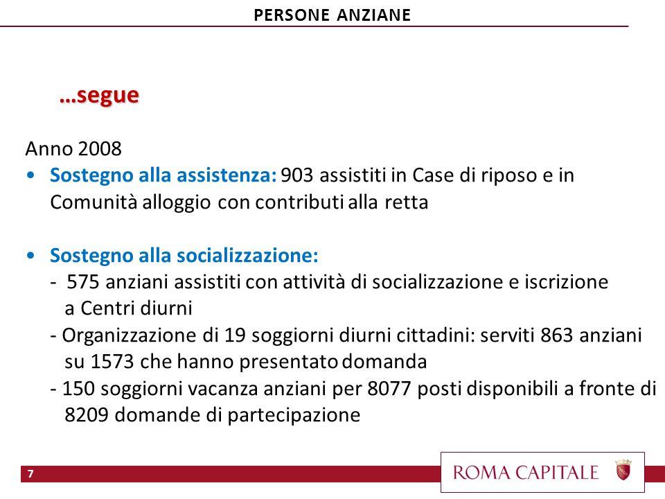 …segue Anno 2008 Sostegno alla assistenza: 903 assistiti in Case di riposo e in Comunità alloggio con contributi alla retta Sostegno alla socializzazi