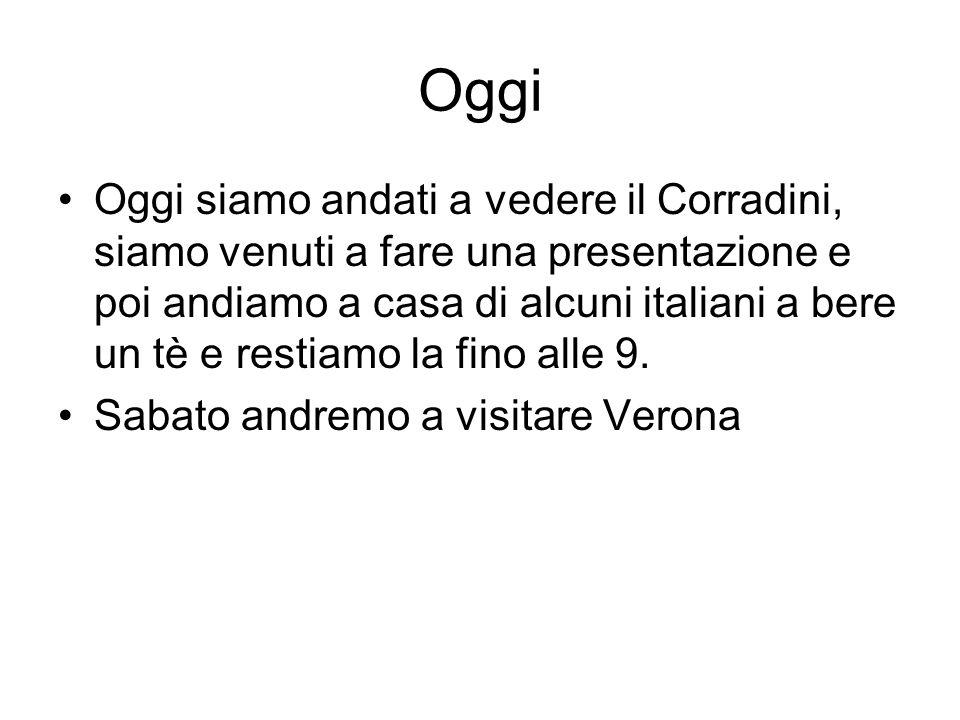 Oggi Oggi siamo andati a vedere il Corradini, siamo venuti a fare una presentazione e poi andiamo a casa di alcuni italiani a bere un tè e restiamo la fino alle 9.
