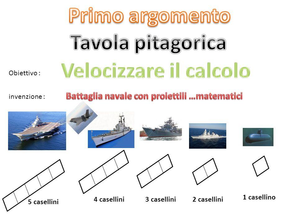 Obiettivo : invenzione : 5 casellini 4 casellini3 casellini2 casellini 1 casellino