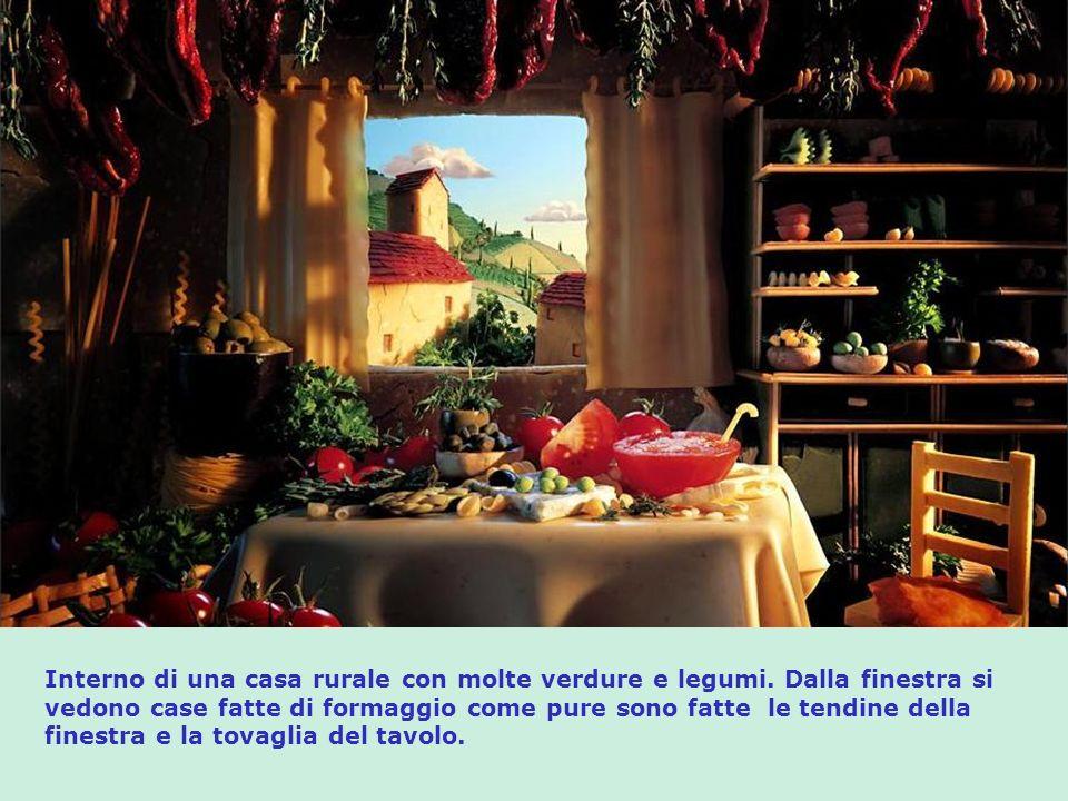 Le case di formaggio con tende di pasta vendono pomodori, olive, guscio di spagnolette, e altre verdure e legumi. Le pietre fatte di pane formano ques